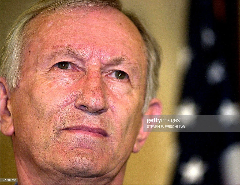 US Sen. James Jeffords, I-VT, looks out 24 May 2001 at a press conference as he announces his departure from the Republican Party in Burlington, VT. The move by Jeffords changes the current balance of the United States Senate, placing the Democratic Party in the majority.