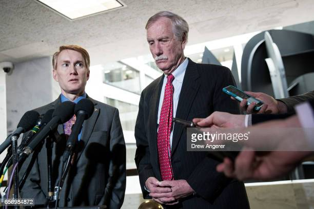 Sen James Lankford and Sen Angus King answer questions from reporters following a closed briefing with the Senate Select Committee on Intelligence...