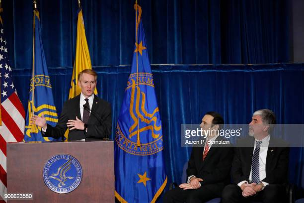 Sen James Lankford speaks at a news conference announcing a new division on Conscience and Religious Freedom as Office of Civil Rights Director Roger...