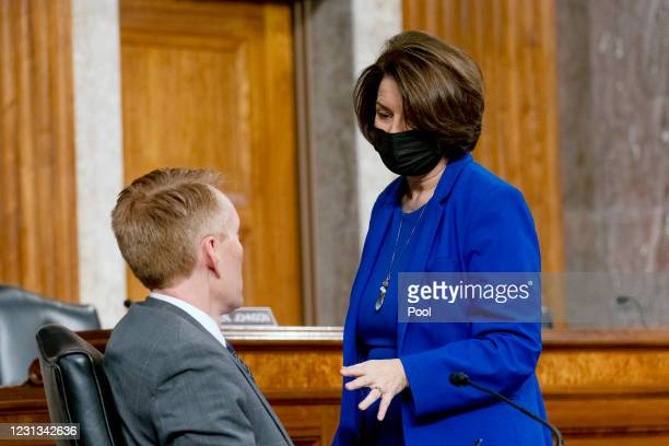 Sen. James Lankford speaks to Chairwoman Senator Amy Klobuchar during a Senate Homeland Security and Governmental Affairs & Senate Rules and...