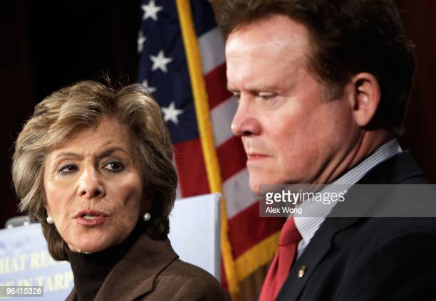 S Sen James Webb and Sen Barbara Boxer attend a news conference on Capitol Hill February 4 2010 in Washington DC The Senators introduced the Taxpayer...