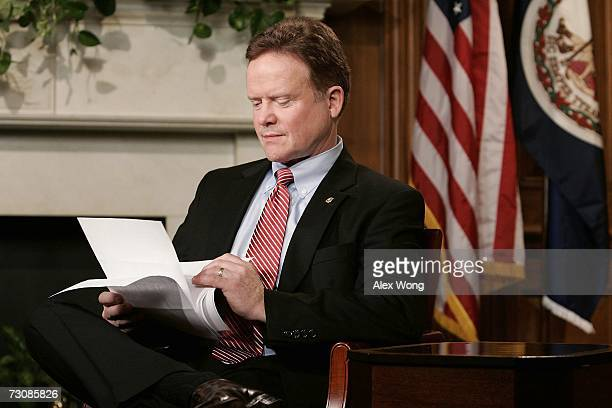 S Sen James Webb reads papers as he rehearses for the Democratic response to the State of the Union January 23 2007 on Capitol Hill in Washington DC...