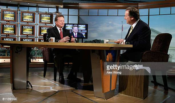 S Sen James Webb speaks as he is interviewed by moderator Tim Russert during a taping of 'Meet the Press' at the NBC studios May 18 2008 in...