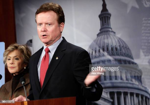S Sen James Webb speaks as Sen Barbara Boxer looks on during a news conference on Capitol Hill February 4 2010 in Washington DC The Senators...