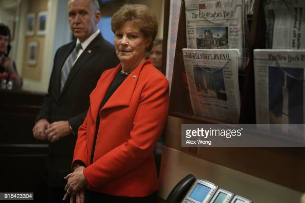 S Sen Jeanne Shaheen and Sen Thom Tillis wait for the beginning of a news conference at the Capitol February 7 2018 in Washington DC Sen Shaheen and...