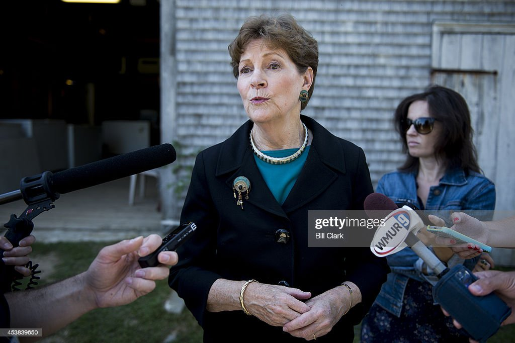Sen  Jeanne Shaheen, D-N H , speaks with reporters following