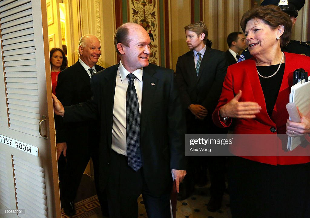 U.S. Sen. Jeanne Shaheen (D-NH) (R), Sen. Christopher Coons (D-DE) (C) and Sen. Benjamin Cardin (D-MD) (L) leave after a mark up hearing before Senate Foreign Relations Committee to vote on the nomination of Kerry to be secretary of State January 29, 2013 on Capitol Hill in Washington, DC. The Senate panel has approved the nomination and it is expected the full Senate will pick up the vote today to confirm the nomination to succeed Hillary Clinton.
