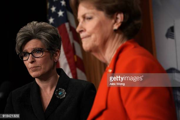 S Sen Jeanne Shaheen speaks as Sen Joni Ernst listens during a news conference at the Capitol February 7 2018 in Washington DC Sen Shaheen and Sen...