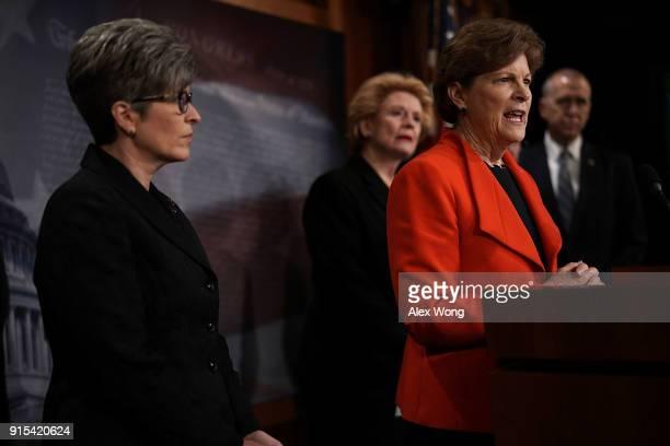 S Sen Jeanne Shaheen speaks as Sen Joni Ernst Sen Debbie Stabenow and Sen Thom Tillis listen during a news conference at the Capitol February 7 2018...