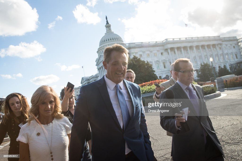 Sen. Jeff Flake (R-AZ) Announces He Will Not Seek Re-Election And Rebukes President Trump In Senate Chamber Speech : News Photo