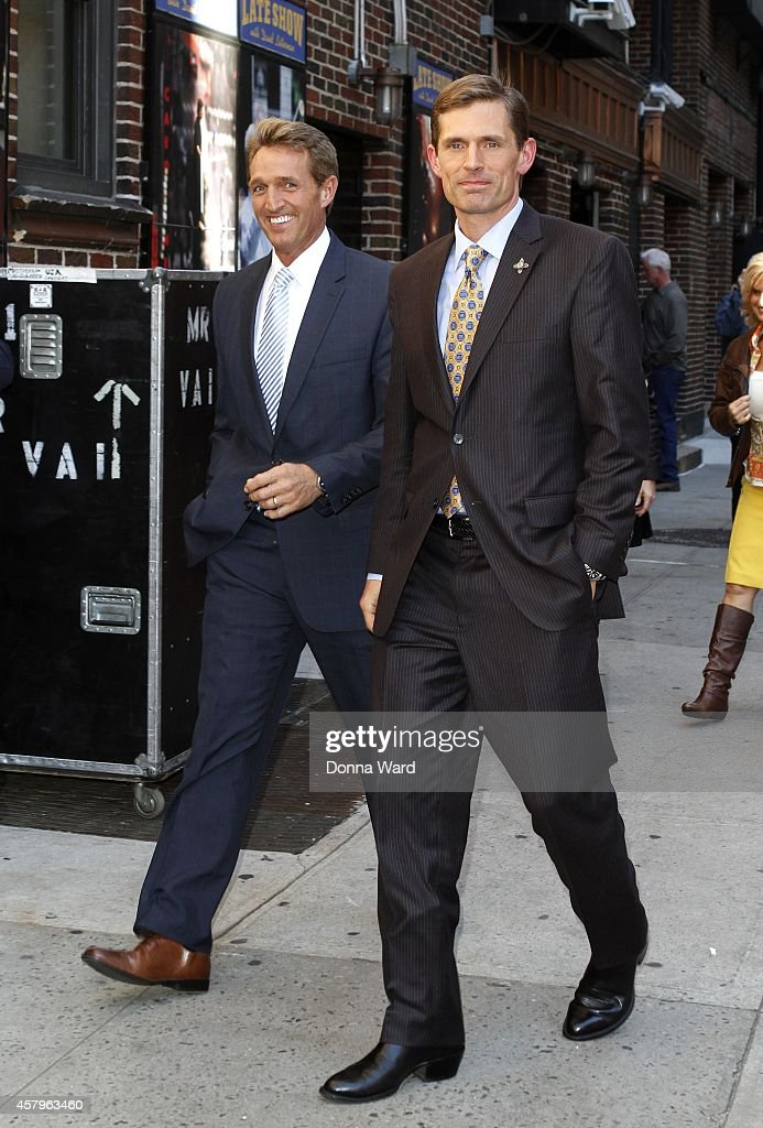 Sen Jeff Flake and Sen Martin Heinrich arrive for the 'Late Show with David Letterman' at Ed Sullivan Theater on October 27, 2014 in New York City.