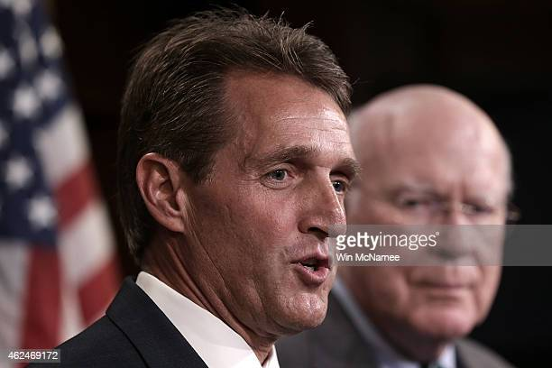 Sen Jeff Flake and Sen Patrick Leahy speak at a press conference on Cuba at the US Capitol January 29 2015 in Washington DC Flake is introducing...