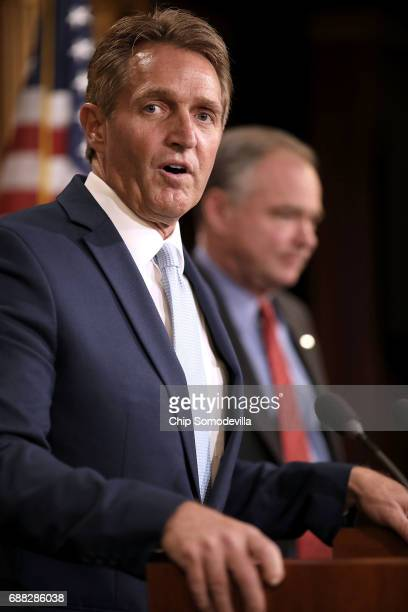 Sen Jeff Flake and Sen Tim Kaine talk about their introduction of a new Authorization for the Use of Military Force against the Islamic State of Iraq...