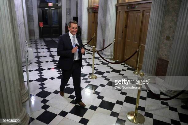 Sen Jeff Flake arrives at the US Capitol for early morning votes February 9 2018 in Washington DC Despite an attempt by Sen Rand Paul to slow down...