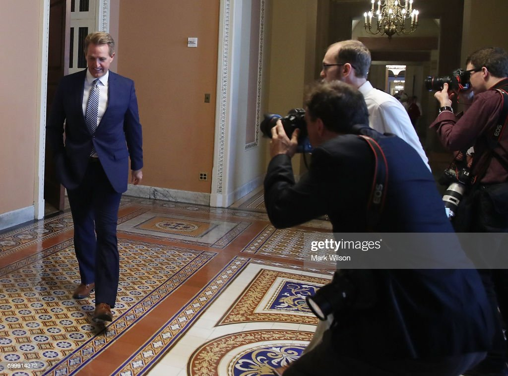 Sen. Jeff Flake (R-AZ) leaves a closed meeting with Senate Republicans on Capitol Hill, on June 22, 2017 in Washington, DC. The meeting was held so Senate GOP lawmakers could get the first look at the health care bill intended to replace the Affordable Care Act.
