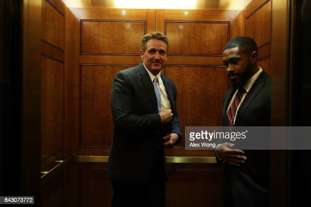 S Sen Jeff Flake leaves after a vote at the Capitol September 5 2017 in Washington DC Congress is back from summer recess with a heavy legislative...