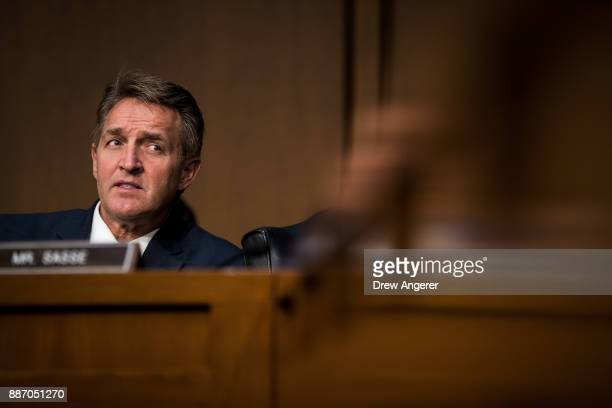 Sen Jeff Flake listens to testimony during a Senate Judiciary Committee hearing concerning firearm accessory regulation and enforcing federal and...