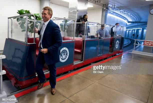 Sen Jeff Flake RAriz arrives in the Capitol for the Senate Republicans' policy lunch on Tuesday Oct 17 2017