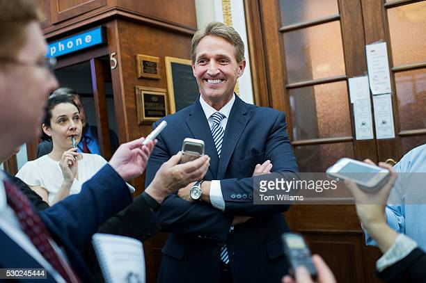 Sen. Jeff Flake, R-Ariz., is interviewed after handing out treats and his annual report outlining government waste to reporters in the Capitol's...