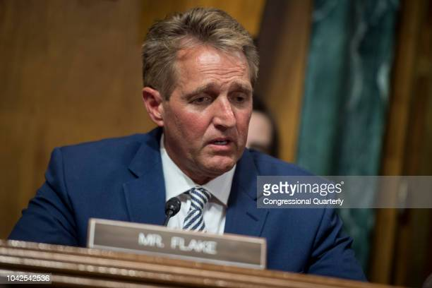 Sen Jeff Flake RAriz speaks before the Senate Judiciary Committee meeting about the Supreme Court nominee Brett Kavanaugh Friday Sept 28 2018