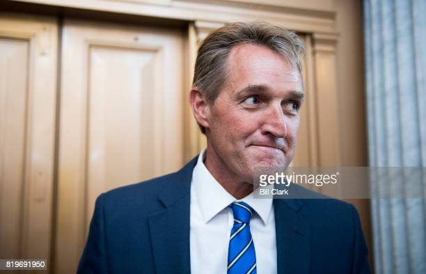 Sen Jeff Flake RAriz speaks with reporters after a vote in the Capitol on Thursday July 20 2017