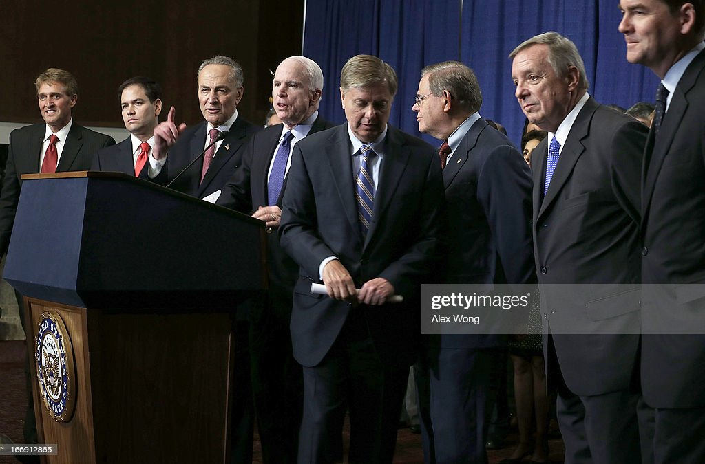 The Group Of Senators Dubbed The 'Gang Of 8' Hold News Conference On Immigration Legislation : News Photo