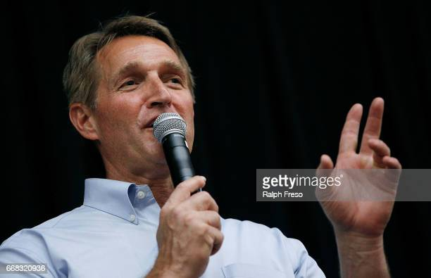 S Sen Jeff Flake speaks at a town hall event at the Mesa Convention Center on April 13 2017 in Mesa Arizona It was the first such event this year for...