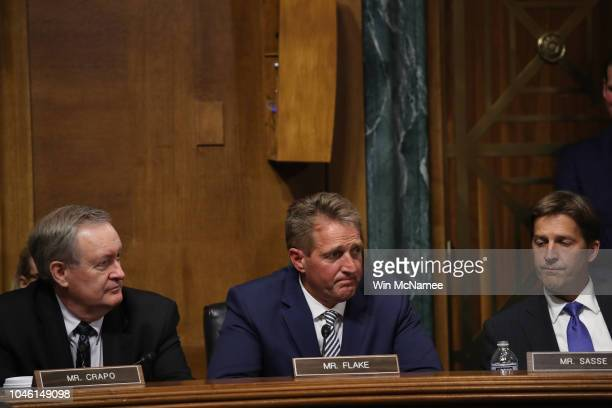 Sen Jeff Flake speaks during a meeting of the Senate Judiciary Committee September 28 2018 in Washington DC Flake was crucial in getting the...