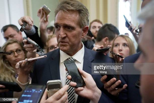 S Sen Jeff Flake speaks to members of the media after a meeting in the office of Senate Majority Leader Sen Mitch McConnell September 28 2018 at the...