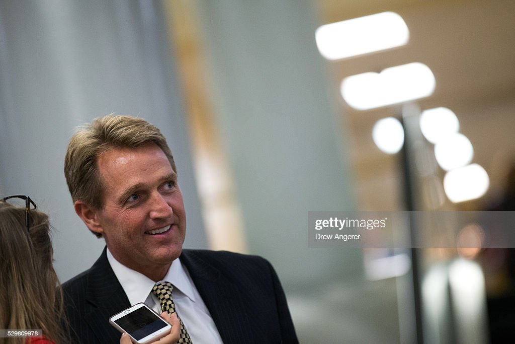 Sen. Jeff Flake (R-AZ) speaks with reporters after a vote at the U.S. Capitol, May 9, 2016, in Washington, DC. Senate Democrats defeated a procedural vote on an energy bill, which increases funding for the Department of Energy and Army Corps of Engineers.