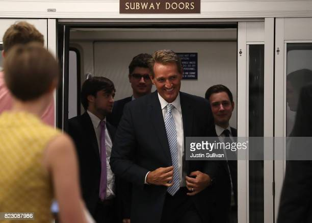 S Sen Jeff Flake walks to the US Capitol on July 26 2017 in Washington DC The US Senate will continue debate on the Better Care Reconciliation Act