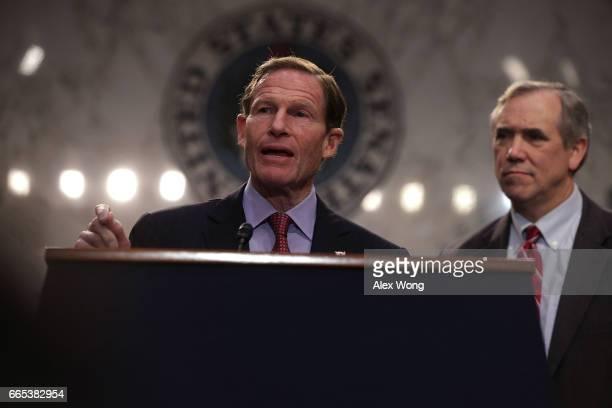 S Sen Jeff Merkley and Sen Richard Blumenthal participate in an antiGorsuch rally April 6 2017 on Capitol Hill in Washington DC Senate Democrats...