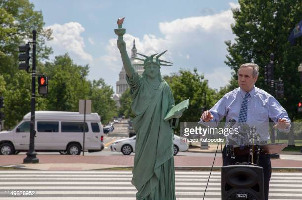 Sen. Jeff Merkley at the America Welcomes Event with a Statue Of Liberty Replica Shows Solidarity With Immigrants & Refugees at Union Station on May...