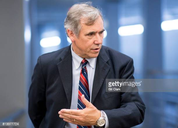 Sen Jeff Merkley DOre arrives in the Capitol for a vote on Wednesday July 12 2017