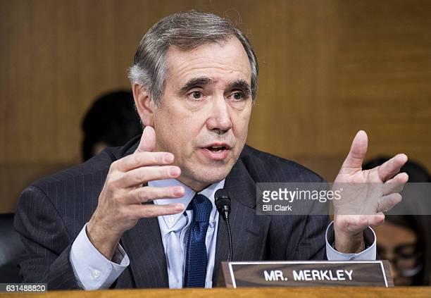 Sen Jeff Merkley DOre questions Secretary of State nominee Rex Wayne Tillerson testifies during his Senate Foreign Relations Committee confirmation...