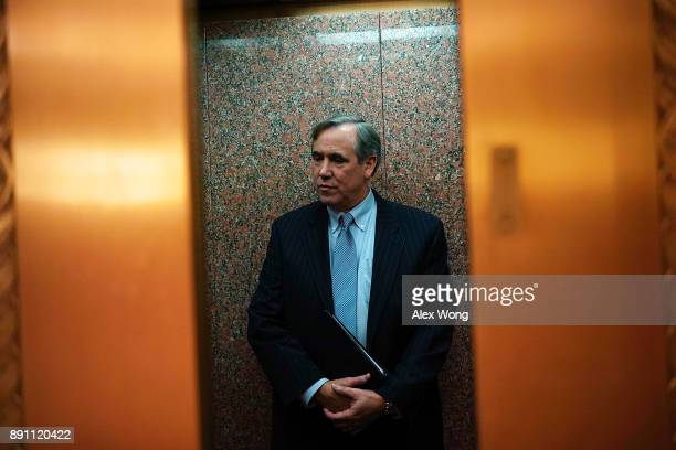 S Sen Jeff Merkley leaves after a news briefing December 12 2017 on Capitol Hill in Washington DC Sen Merkley spoke on the Labor Department's...