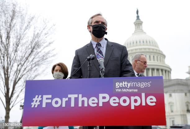Sen. Jeff Merkley , Senate Majority Leader Chuck Schumer , and Sen. Amy Klobuchar announce the introduction of S.1., the 'For the People' Act,...