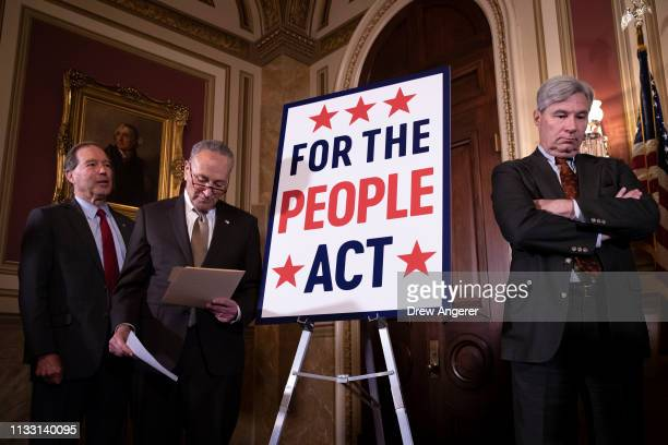 Sen. Jeff Merkley , Senate Minority Leader Chuck Schumer and Sen. Sheldon Whitehouse attend a press conference to unveil the For The People Act at...