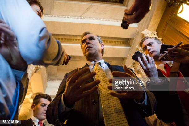 Sen Jeff Merkley talks to members of the press after speaking all night on the Senate floor in opposition to US Supreme Court Nominee Neil Gorsuch on...