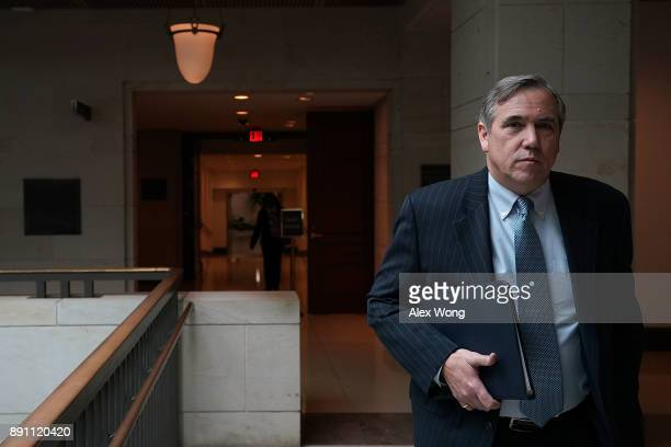S Sen Jeff Merkley walks in a hallway prior to a news briefing December 12 2017 on Capitol Hill in Washington DC Sen Merkley spoke on the Labor...