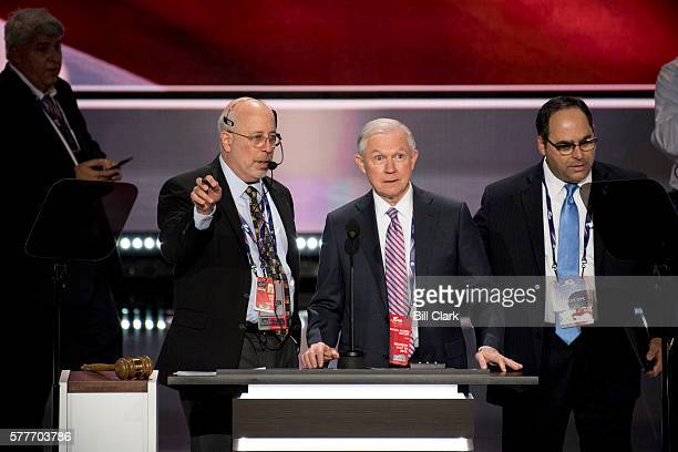 Sen. Jeff Sessions checks the podium and teleprompters on stage before the start of the 2016 Republican National Convention in Cleveland, Ohio on...