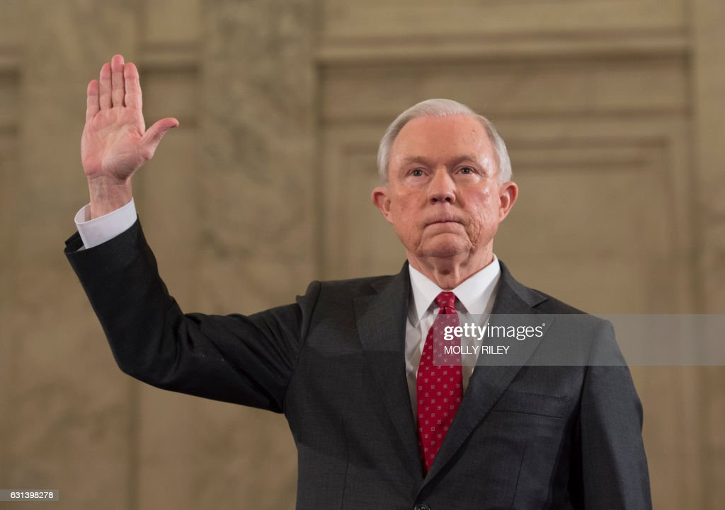 Sen. Jeff Sessions, R-AL, is sworn in for the Senate Judiciary Committee confirmation hearing on the nomination of Sessions to be Attorney General of the United States, on January 10, 2017, in Washington, DC. / AFP / MOLLY