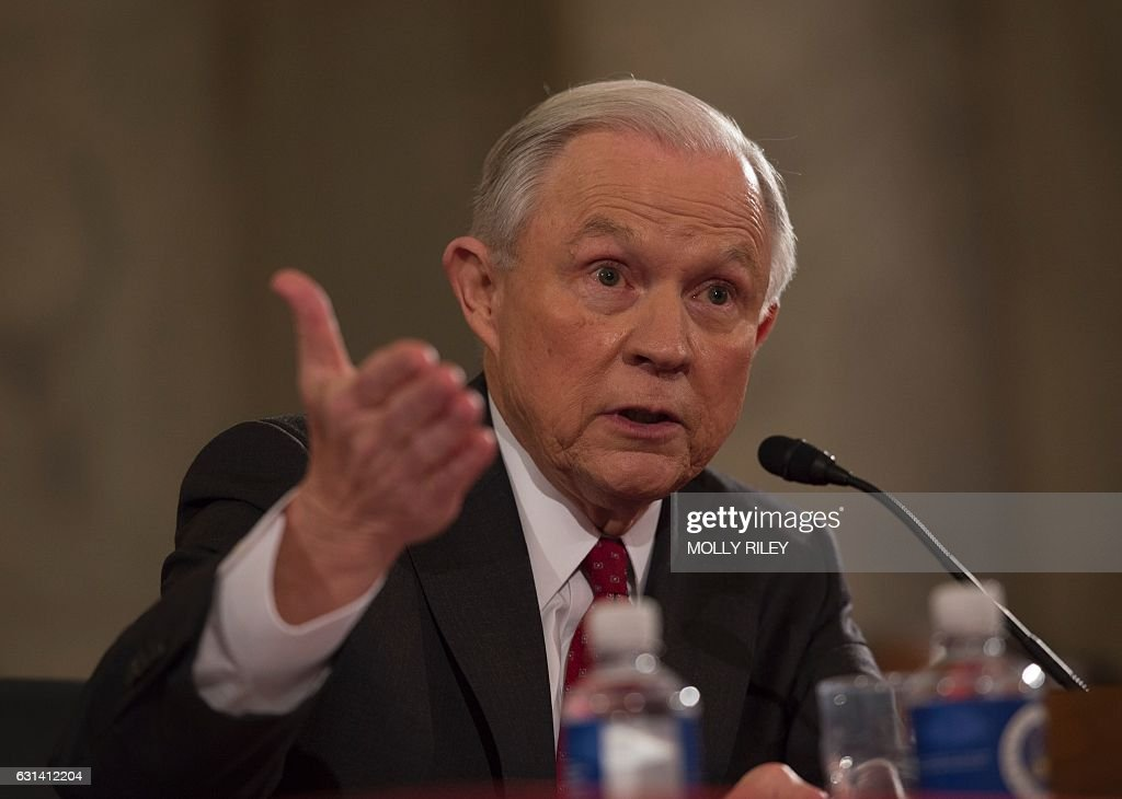 Sen. Jeff Sessions, R-AL, testifies during his confirmation hearing to be Attorney General of the US before the Senate Judiciary Committee on January 10, 2017, in Washington, DC. / AFP / MOLLY