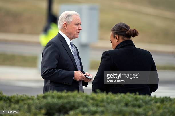 Sen Jeff Sessions RAla has his ID checked upon arriving to the funeral mass for the late Supreme Court Justice Antonin Scalia at the Basilica of the...