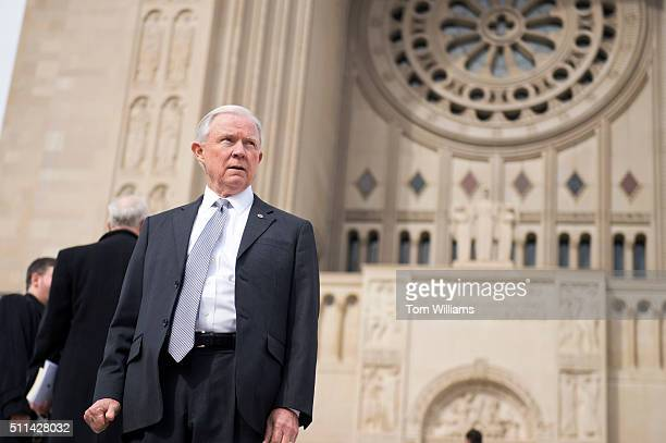 Sen Jeff Sessions RAla leaves the National Shrine of the Immaculate Conception after the funeral mass for the late Supreme Court Justice Antonin...