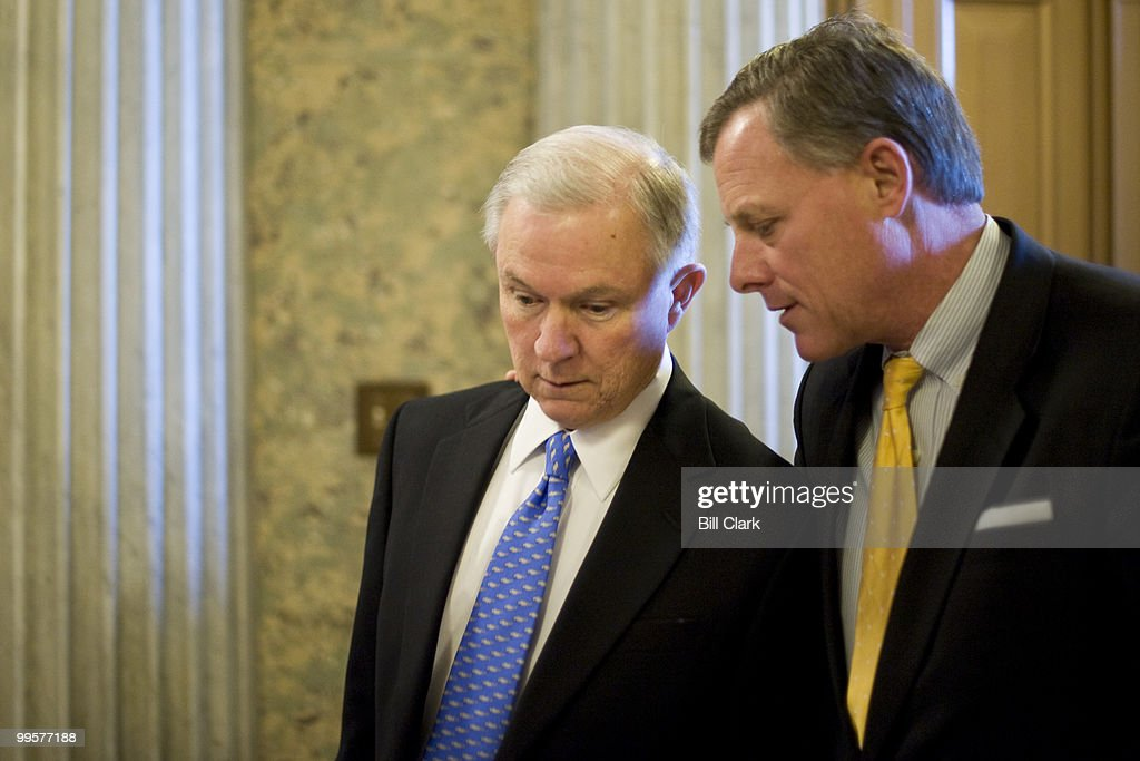 Sen. Jeff Sessions, R-Ala., left, and Sen. Richard Burr, R-N.C., talk as they head to the Senate Floor for a vote on Wednesday, Nov. 4, 2009.