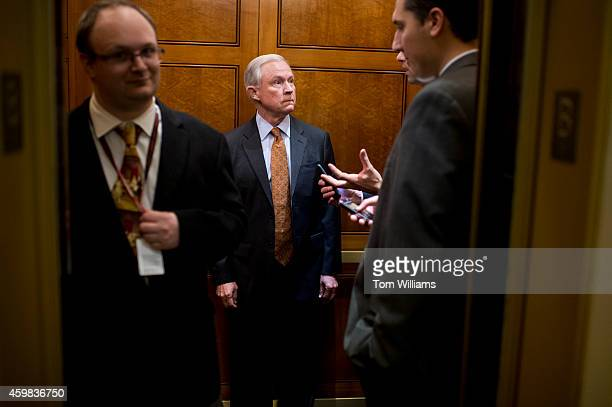 Sen Jeff Sessions RAla rides an elevator in the basement of the Capitol en route to senate luncheons December 2 2014