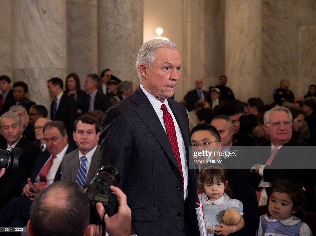 Sen. Jeff Sessions, R-AL,arrives to testify at his confirmation hearing to be Attorney General of the US before the Senate Judiciary Committee on January 10, 2017, in Washington, DC. / AFP / MOLLY