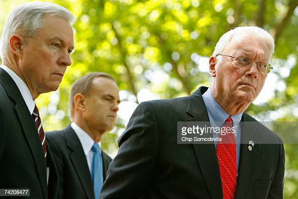 US Sen Jeff Sessions Rep Brian Bilbray and Sen Jim Bunning take questions during a news conference about the Secure Borders Economic Opportunity and...