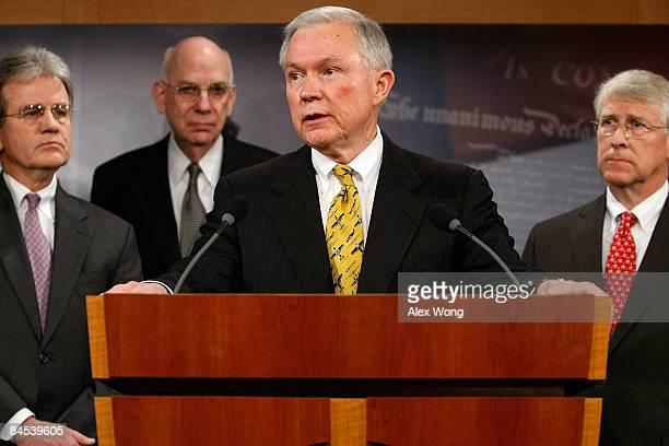 S Sen Jeff Sessions speaks as Sen Tom Coburn Sen Robert Bennett and Sen Roger Wicker look on during a news conference on the economic stimulus...